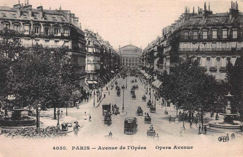 Opera Avenue, Paris, France, Early Postcard, Unused