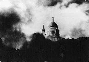 St Paul's Cathedral Escaping Fire Damage, London Perished in Fire Bomb Raid 1940