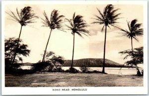1940s Honolulu, Hawaii RPPC Real Photo Postcard KOKO HEAD Beach / Palm Trees