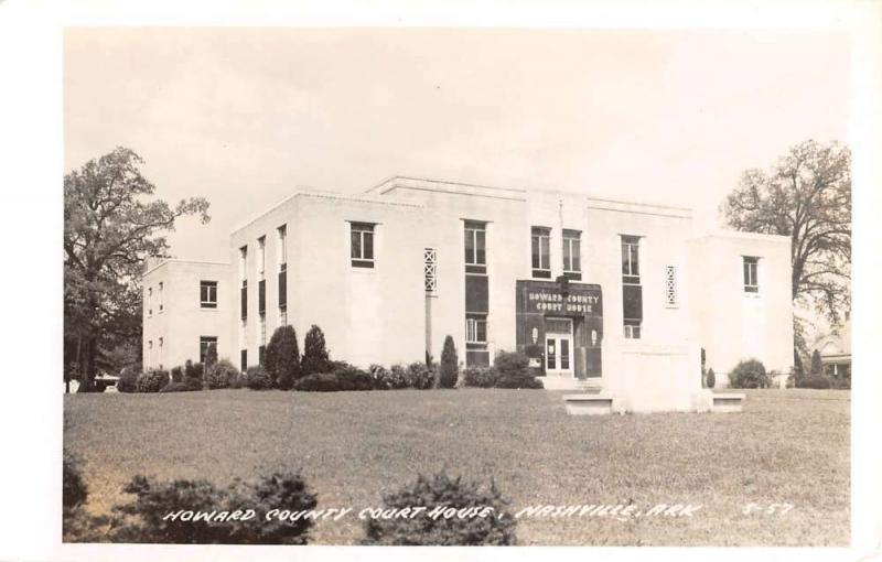 Nashville Arkansas Howard Court House Real Photo Antique Postcard K35218