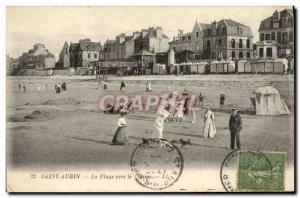 Old Postcard Saint Aubin playe to the casino