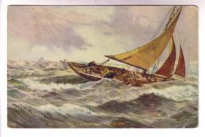 Painting Series 5202 Men in Sailing Fishing Boat, Rounding the Buoy