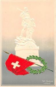 Switzerland Tell Monument, Tell-Denkmal in Altdorf, Embossed, Patriotic Flag