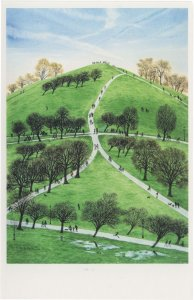 Primrose Hill in Chilly Spring Rain Puddles London Painting Postcard