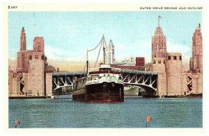 Externe Lecteur Pont & Chicago Skyline Lac Michigan Bateaux Carte Postale
