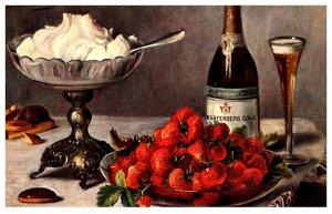 strawberries , whip cream, Champagne  , artist signed