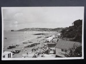 Isle of Wight COLWELL BAY near TOTLAND busy beach scene Old RP Postcard by Nigh