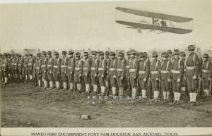 Circa-1912 Fort Sam Houston Tx PC: Biplane Passes Overflies Maneuvers – Rare