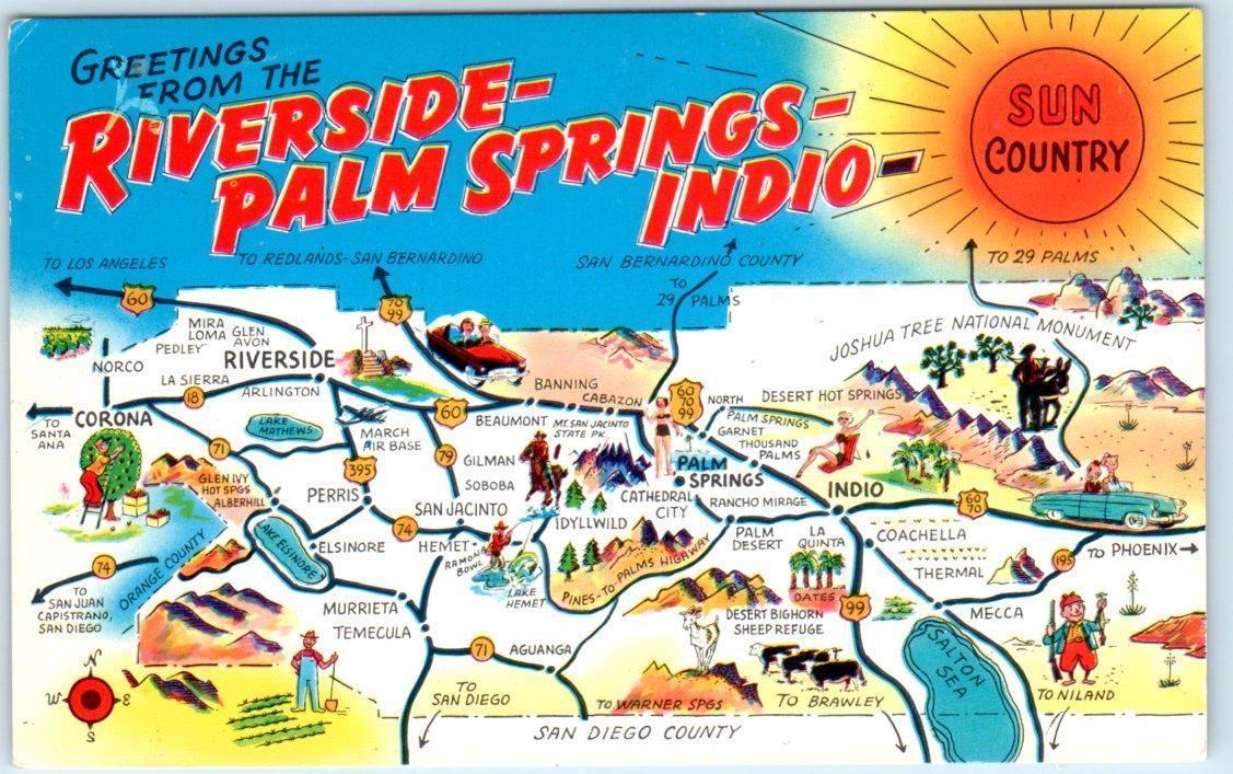 RIVERSIDE-PALM SPRINGS-INDIO, California CA Illustrated MAP POSTCARD ...