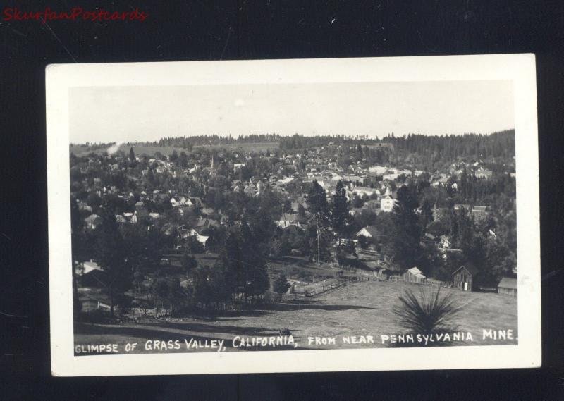 RPPC GRASS VALLEY CALIFORNIA FROM NEAR PENNSYLVANIA MINE REAL PHOTO POSTCARD