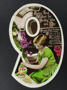 c1930's LITTLE GIRL & TEA POT & CUP OF TEA Cut Out Numeral 9th Birthday Postcard