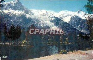 Modern Postcard Chamonix Lake Gaillands Aiguille du Midi (3842 m) Mont Blanc ...