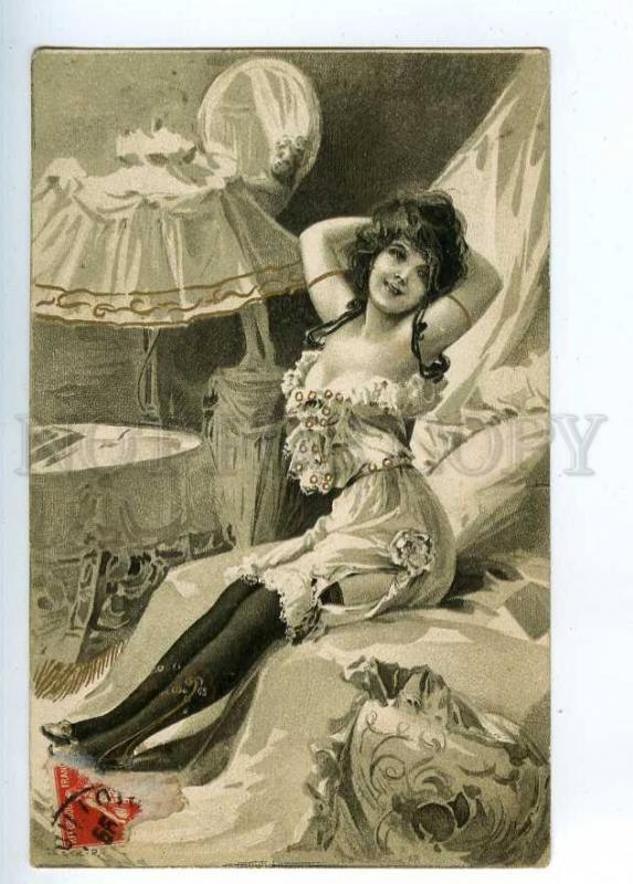 202269 ART NOUVEAU Lady PIN-UP w/ LAMP Vintage postcard
