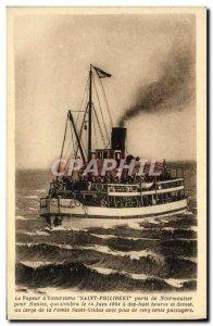 Old Postcard The Steam d & # 39Bxcursions Saint Philibert Party Noirmoutier N...