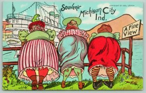 Michigan City Indiana Comic~A Fine View: Hefty Ladies Lean Over Rail~1939 Linen
