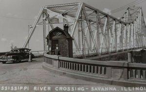 Illinois Iowa Mississippi River Bridge Crossing RPPC PC Guard Station Old Car