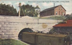 Electric Engine entering St.Clair Tunnel,Port Huron,Mich.,to Sarnia, Canada,P...