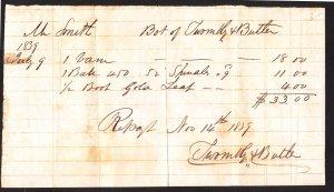 Thomaston ME bills for weathervane/incidentals –Methodist Meeting House -1839