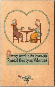 Vintage VALENTINE'S DAY Postcard On My Heart is the Love Sign… 1915 Cancel