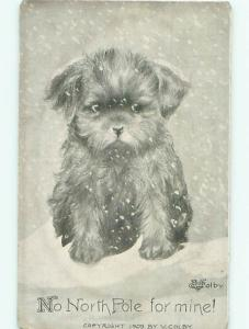 Pre-Linen DOG SITTING OUT IN THE SNOW AC5193