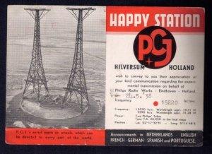 24.5.38 Postcard Netherlands Machine cancel Happy Station P.C.J.s Aeria...