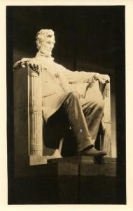 President Abraham Lincoln - Lincoln Memorial Sculpture.    *RPPC