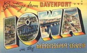 Iowa, Mississippi River, Usa Large Letter Town, Towns, Postcard Postcards  Io...