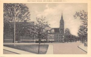 Woonsocket Rhode Island~Holy Family School and Church~1940s Sepia Postcard