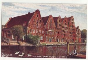 P843 ca1908 fishing luebeck, lagerhauser a.d, trave view germany tucks oilette