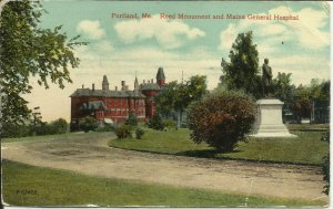 Portland, Maine, Reed Monument And Maine General Hospital