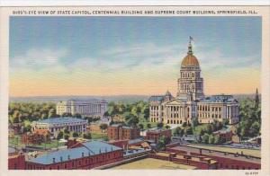 Illinois Springfield Birds Eye View Of State Capitol Centennial Building And ...