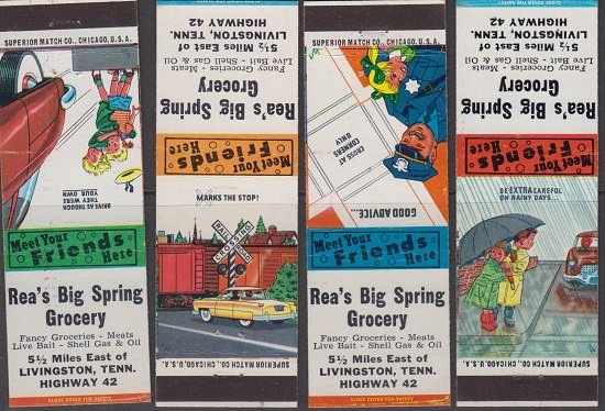 LIVINGSTON TN - REA's BIG SPRING GROCERY / 4 different MATCHBOOKS 1950s