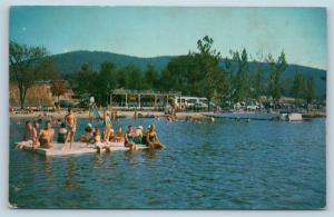 Postcard NJ Belvidere Mountain Lake Bathing Beach Diving Platform 1950s M17