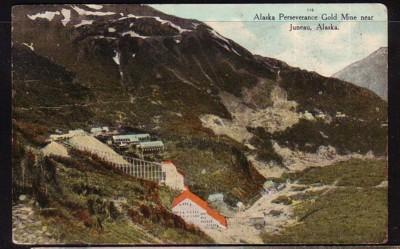 Colour PC Perseverance Gold Mine near Juneau, Alaska used 1939