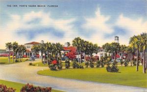 Ponte Vedra Beach Florida~The Inn~Palm Tree Drive~1940s Cars~Linen Postcard