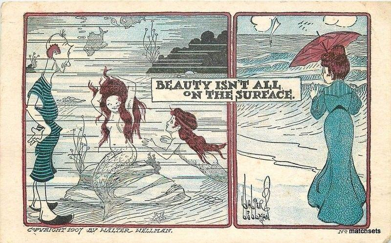 1907 Mermaid Humor artist impression postcard 1729