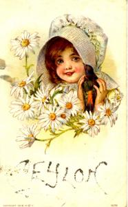 Girl with Bird and Daisies