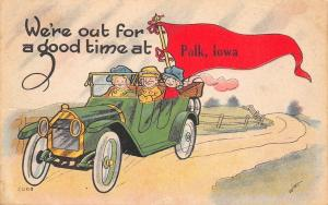 Out for a Good Time in Polk City Iowa~Vintage Car~1916 Pennant Postcard