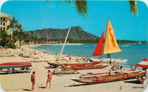 1950s Waikiki Beach  Honolulu Hawaii Sailboats Catamarans Teich postcard 5201
