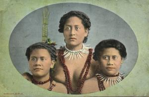 samoa, Three Beautiful Native Girls, Necklace Jewelry (1910s)