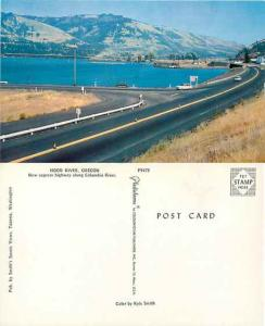 Highway Along Columbia River, Hood River, Oregon, OR, Pre-zip Code Chrome