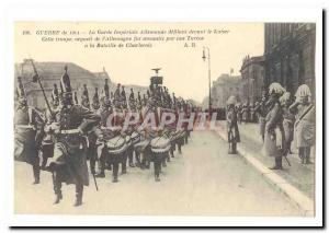 War of 1914 Old Postcard German imperial guard marching past Kaiser (Charleroi)