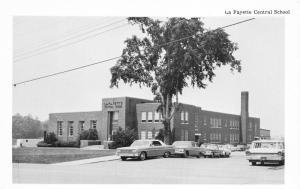 La Fayette New York~La Fayette Central School~60s Cars along Street~Postcard