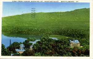 VT - Brattleboro. View from Tower showing Mt. Wantastiquet