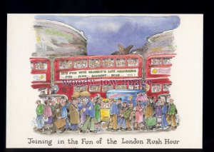 BE182 - London Rush Hour, join in the Fun!! - Large Besley Comic P'card