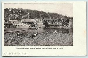 Postcard MA Boston Public Boat Houses Riverside Station & Railroad Bridge C25