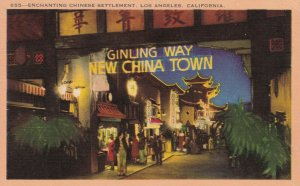 VINTAGE LINEN POST CARD - CHINESE SETTLEMENT, LOS ANGELES, CA