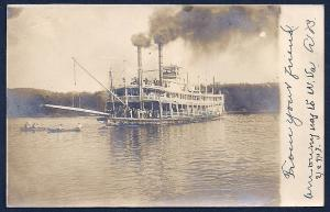 Steamboat on the River RPPC Used c1905