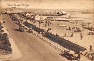 WORTHING SUSSEX UK MARINE PARADE ELEVATED VIEW & OLD CARS POSTCARD