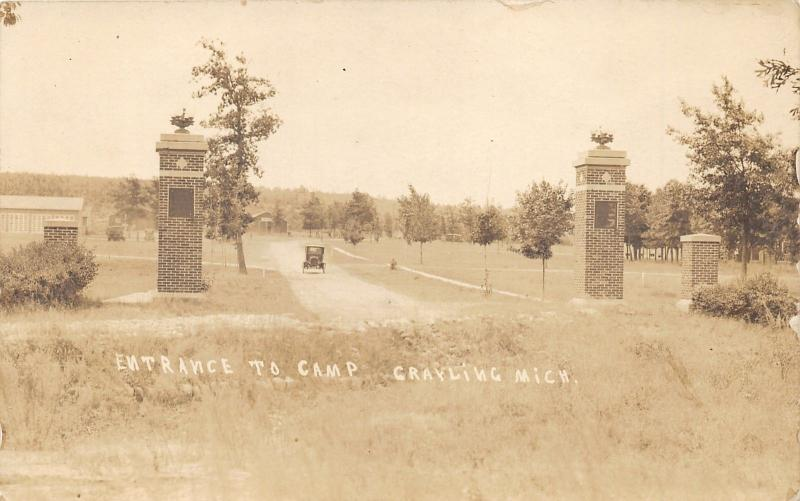 Camp Grayling Michigan Entrance~National Guard Training Camp~c1920 RPPC-Postcard